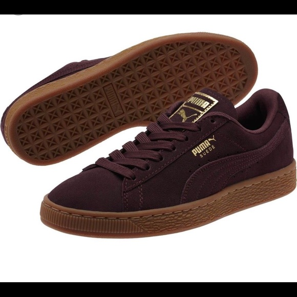 puma suede burgundy gold sneakophilo | SHOES en 2019